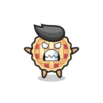 アップルパイのマスコットキャラクターの憤慨した表情、tシャツ、ステッカー、ロゴ要素のキュートなスタイルデザイン