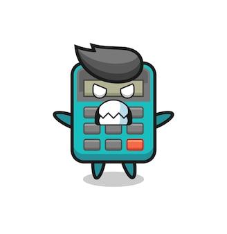 電卓のマスコットキャラクターの憤慨した表情、tシャツ、ステッカー、ロゴ要素のキュートなスタイルデザイン