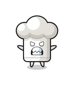 シェフの帽子のマスコットキャラクターの憤慨した表情、tシャツ、ステッカー、ロゴ要素のキュートなスタイルデザイン