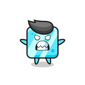 Гневное выражение персонажа-талисмана кубика льда, милый стиль дизайна для футболки, наклейки, элемента логотипа