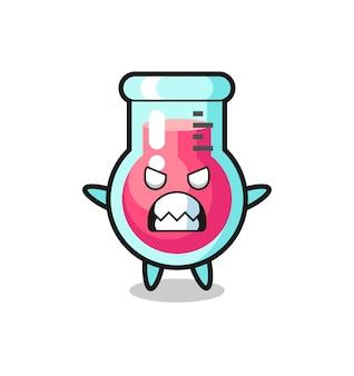 Гневное выражение персонажа талисмана лабораторного стакана, милый стиль дизайна для футболки, наклейки, элемента логотипа