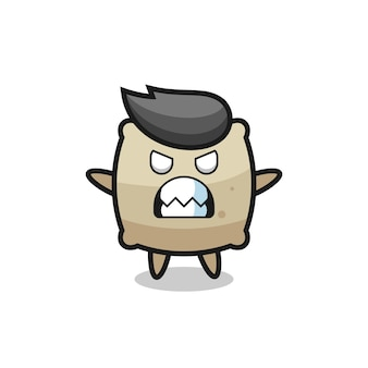 Wrathful expression of the sack mascot character , cute style design for t shirt, sticker, logo element