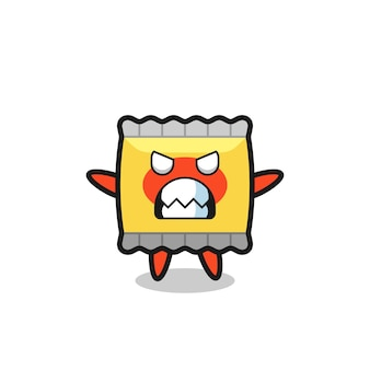 Wrathful expression of the snack mascot character , cute style design for t shirt, sticker, logo element