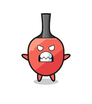 Wrathful expression of the table tennis racket mascot character , cute style design for t shirt, sticker, logo element