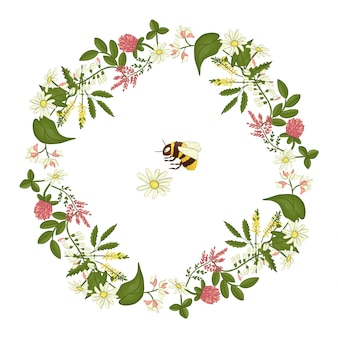 Wreath of acacia, heather, camomile.