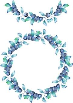 수채화 블루 베리 가지의 화환과 화환