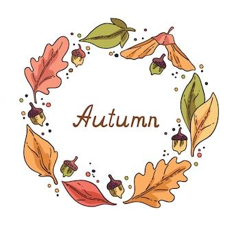 Wreath of autumn leaves and acorns