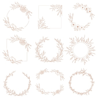 Wreath border decorative botanical frames of branches and flowers