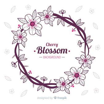 Wreath cherry blossom background
