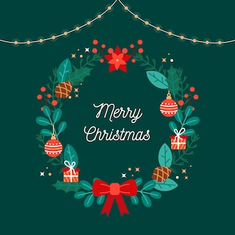 Wreath and christmas greeting in flat design
