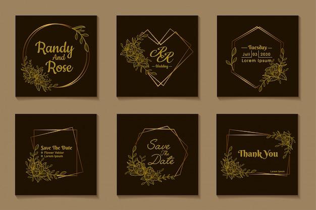 Венок, круг, любовь, квадрат, гексагональная рамка, золотой цветок, дизайн декорации