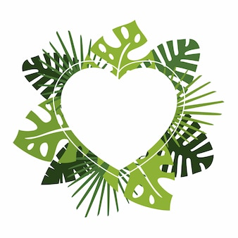 Wreath or circular garland with green tropical leaves and copyspace heart