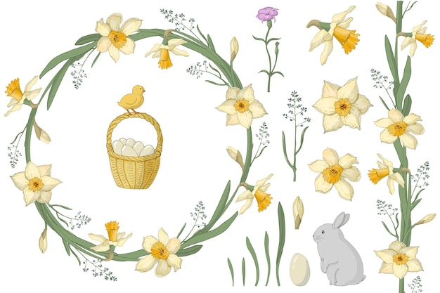 A wreath of daffodils and spring herbs with the inscription. easter basket, eggs, hare, chicken. suitable for postcards and invitations.