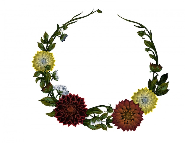 Wreath of dahlias. floral frame.
