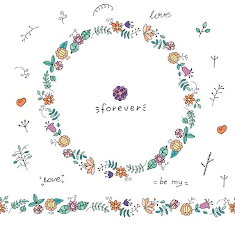 Wreath of doodle flowers and leaves