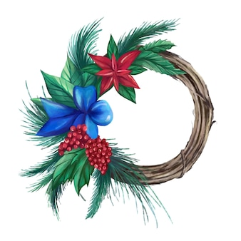 Wreath of fir branches berries poinsettia  traditional christmas decoration vector illustration