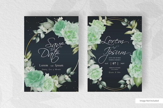 Wreath floral arrangement wedding invitation card template