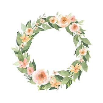 Венок цветочная рамка акварельный венок с оранжевыми цветами оранжевые розы