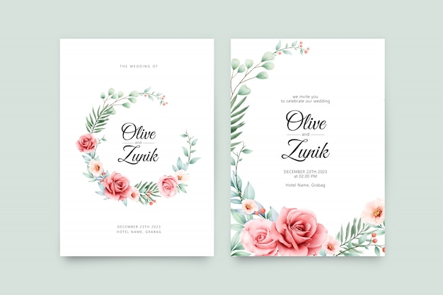Wreath floral watercolor on wedding invitation template