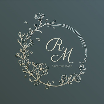 Wreath flower line art for wedding invitation