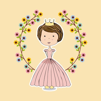 Wreath of flowers and pink princess icon