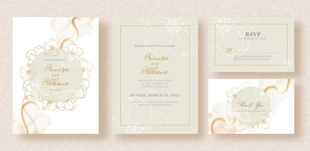 Wreath flowers vector and abstract shapes watercolor on wedding invitation