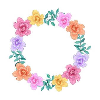 花輪、フレーム、花や葉との境界線。グリーティングカード、ポスター、テキスト用のスペースのあるバナー。手描きのベクトル図です。白い背景で隔離。
