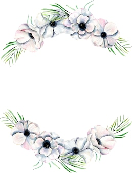 Wreath,  frame border with watercolor anemones and branches