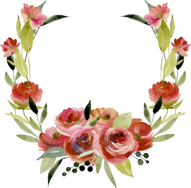 Wreath, frame border with watercolor burgundy roses