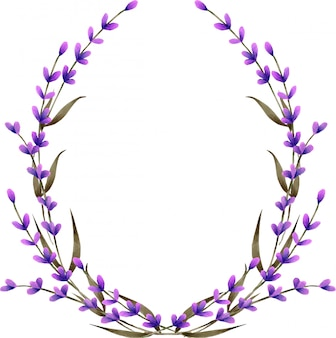 Wreath, frame border with watercolor lavender flowers