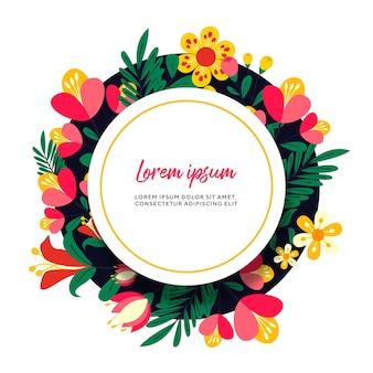 Венок из живых цветов с яркими цветами для свадьбы и пригласительного билета premium векторы
