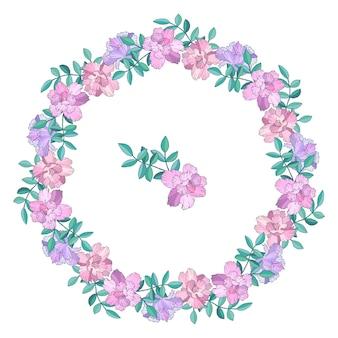 화환, 꽃과 잎 프레임. 손으로 그린 그림. 외딴