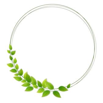 Wreath of fresh green leaves