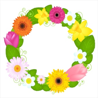 Венок из цветов и листьев, на белом фоне, иллюстрация