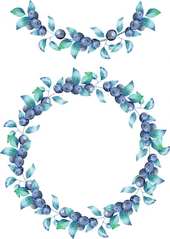 Wreath and garland of the watercolor blueberry branches