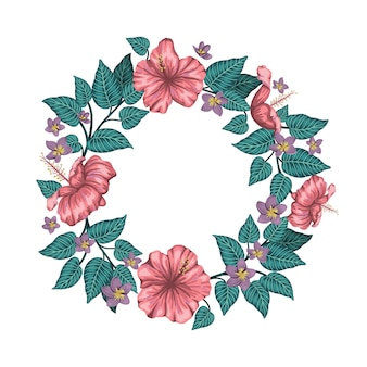 Wreath of green tropical leaves with plumeria