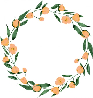 Wreath of hand painted cream pink flowers