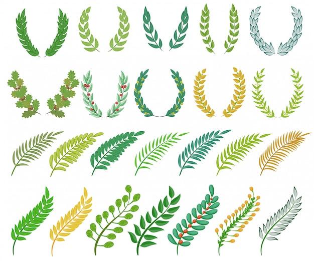 Венок, украшенный венком, украшенный венком, с оливковыми листьями и геральдической ветвью, украшенный лавровыми ветвями, набор иллюстраций геральдической греческой награды на белом фоне