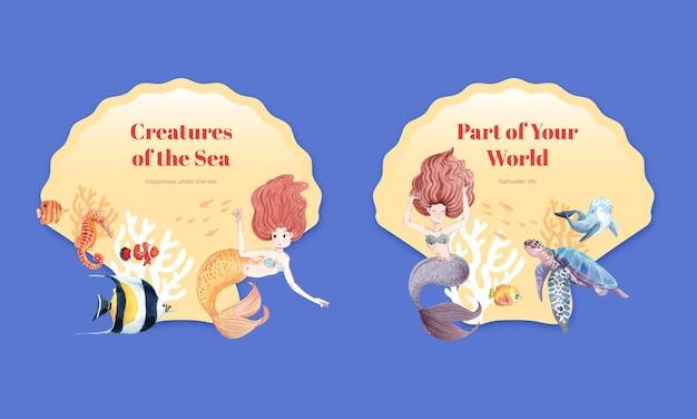 인어 개념, 수채화 스타일 화환 그림