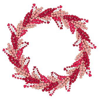 花輪はロマンチックなピンクのハーブで作られています。テンプレート。テキストのフォーム。