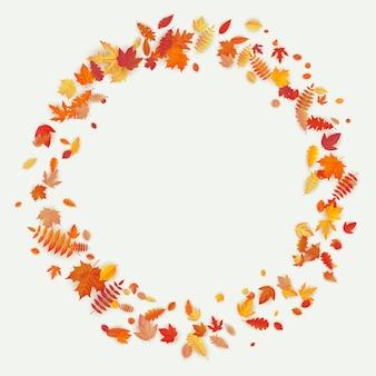 秋の花と明るい背景の葉で作った花輪。秋の組成物。