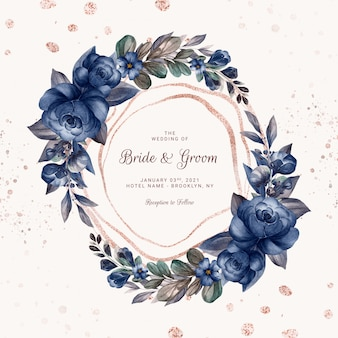 Wreath of navy blue watercolor roses and wild flowers with various leaves. botanic illustration for card composition design