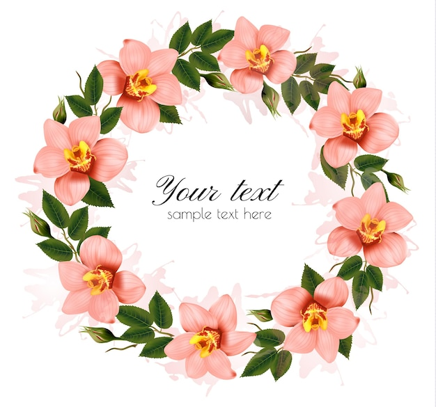 Венок из красивых розовых орхидей. вектор.