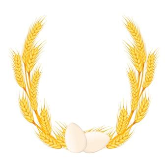 白い背景の上の2つの白い鶏卵フラットベクトルイラストと黄金の小麦の花輪。