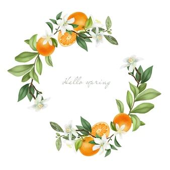 Венок из рисованной цветущих ветвей мандарина, цветов мандарина и мандаринов