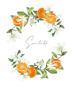 手描き咲くマンダリンの木の花輪マンダリンの花とみかん