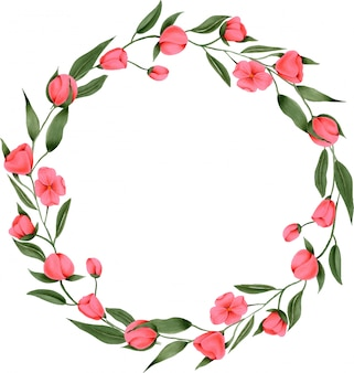 손으로 그린 크림슨 꽃의 화환
