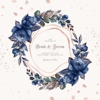네이비 블루 수채화 장미와 다양한 잎을 가진 야생 꽃의 화환. 카드 구성 디자인을위한 식물 그림