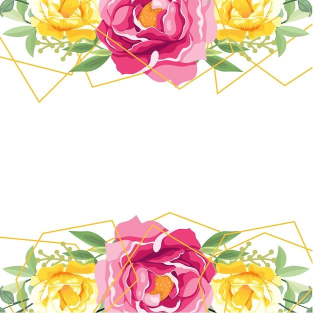 흰색 바탕에 분홍색과 노란색 꽃의 화 환