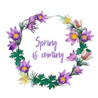 春の花の花輪 - ポスター、招待状、バナー